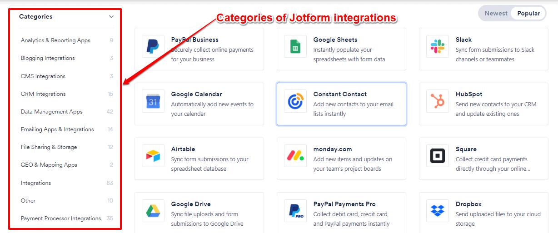 Jotform integrations