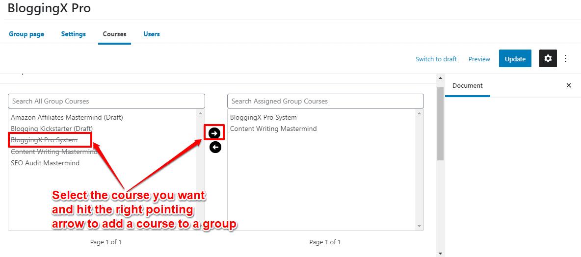 Membership course settings