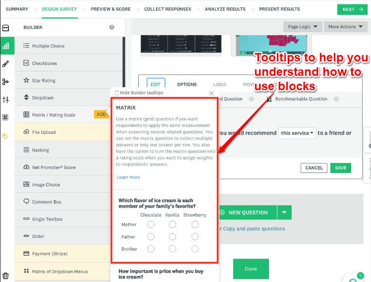 SurveyMonkey form builder tooltips