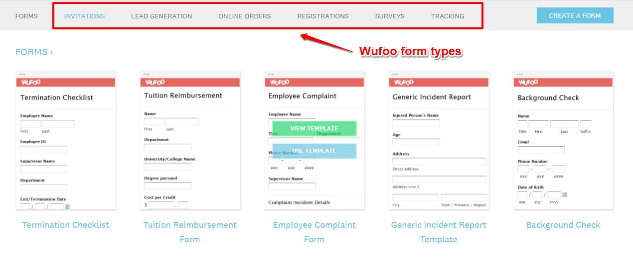 Wufoo form types