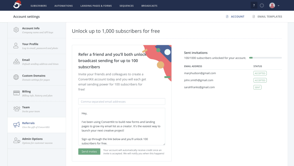 ConvertKit list management and subscribers