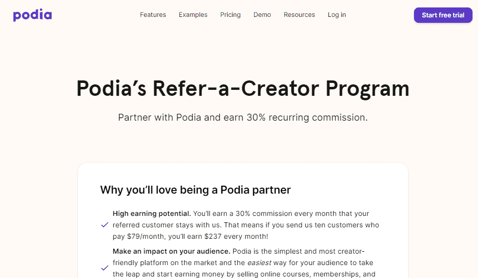 Podia affiliate program