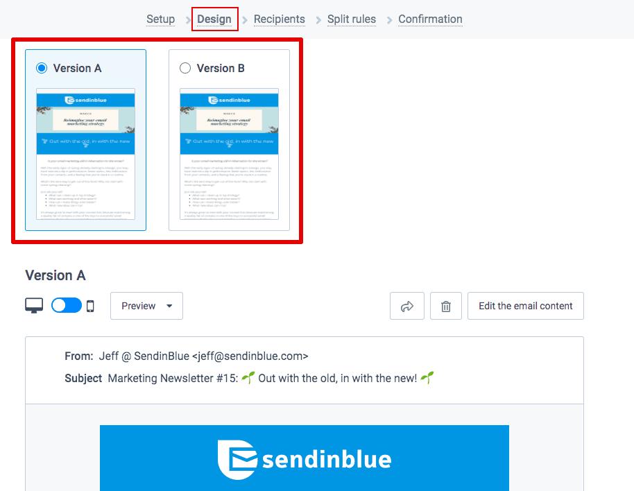 SendinBlue split testing