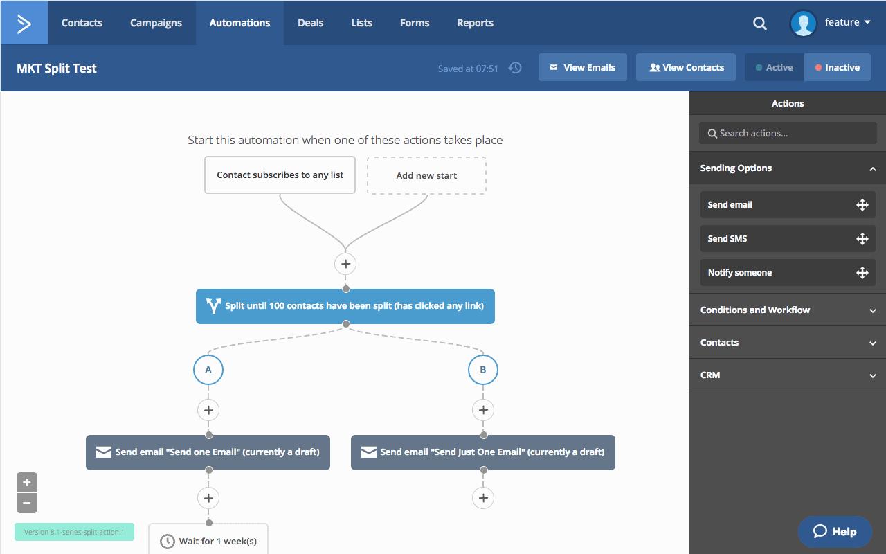 ActiveCampaign split testing