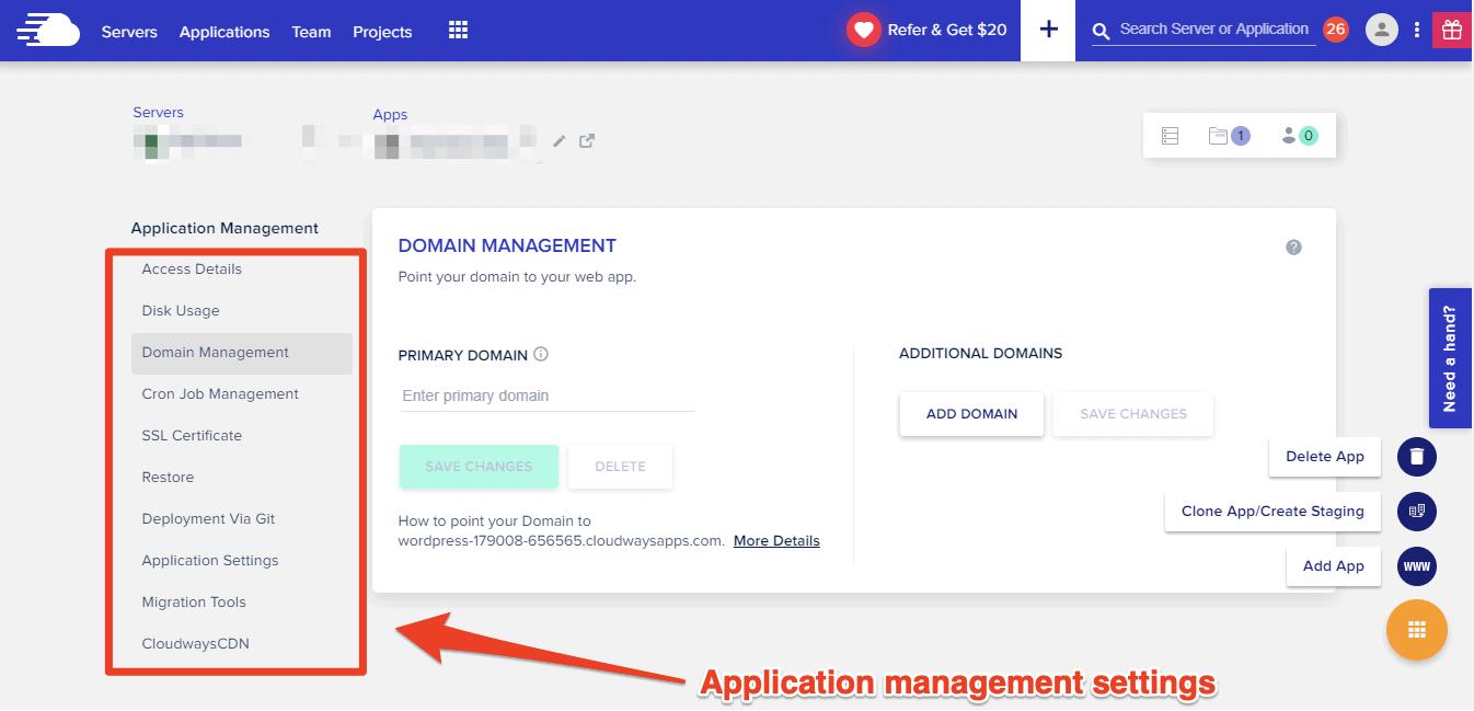 Cloudways application management settings