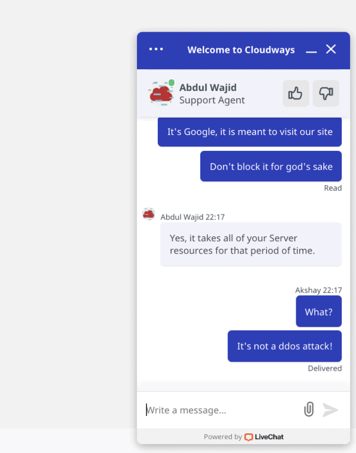 cloudways live chat support