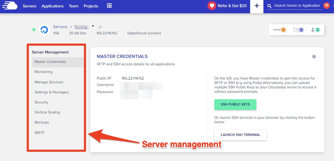 Server and application management