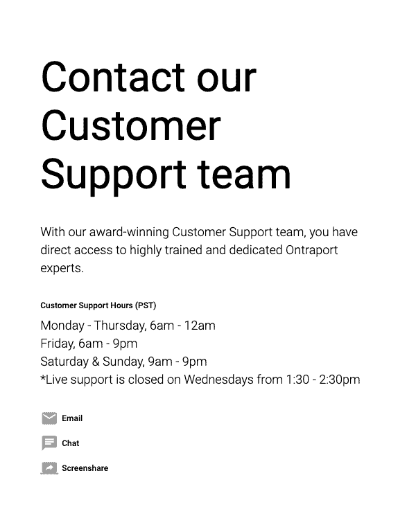 Ontraport support