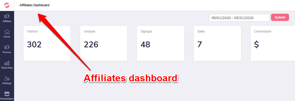 GrooveFunnels affiliate dashboard