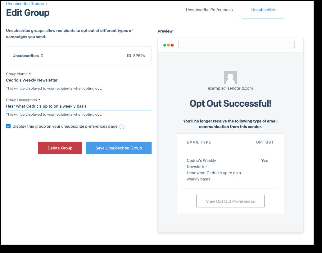SendGrid contact management