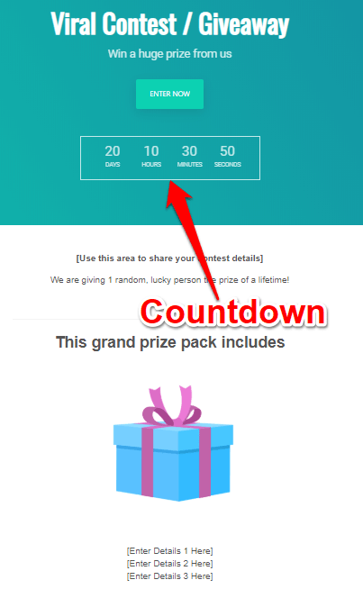 Countdown timer including for the contest