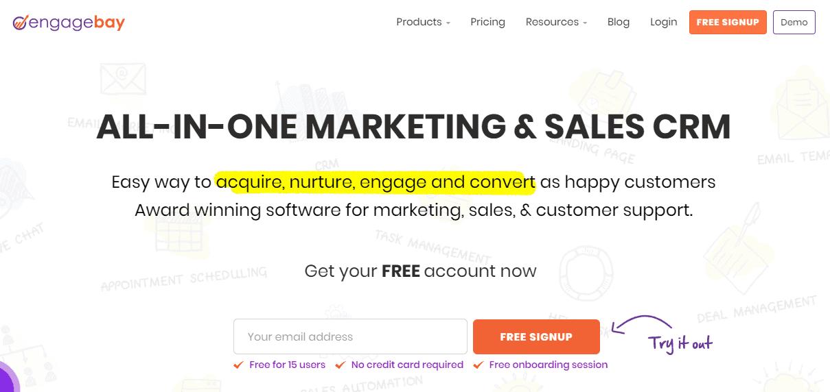EngageBay interface