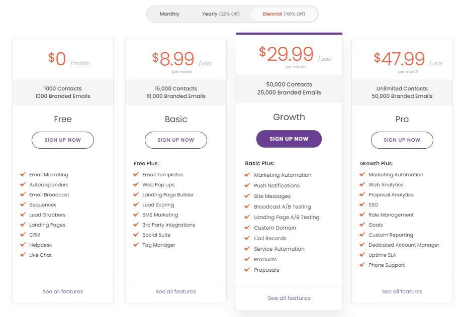 EngageBay pricing plan
