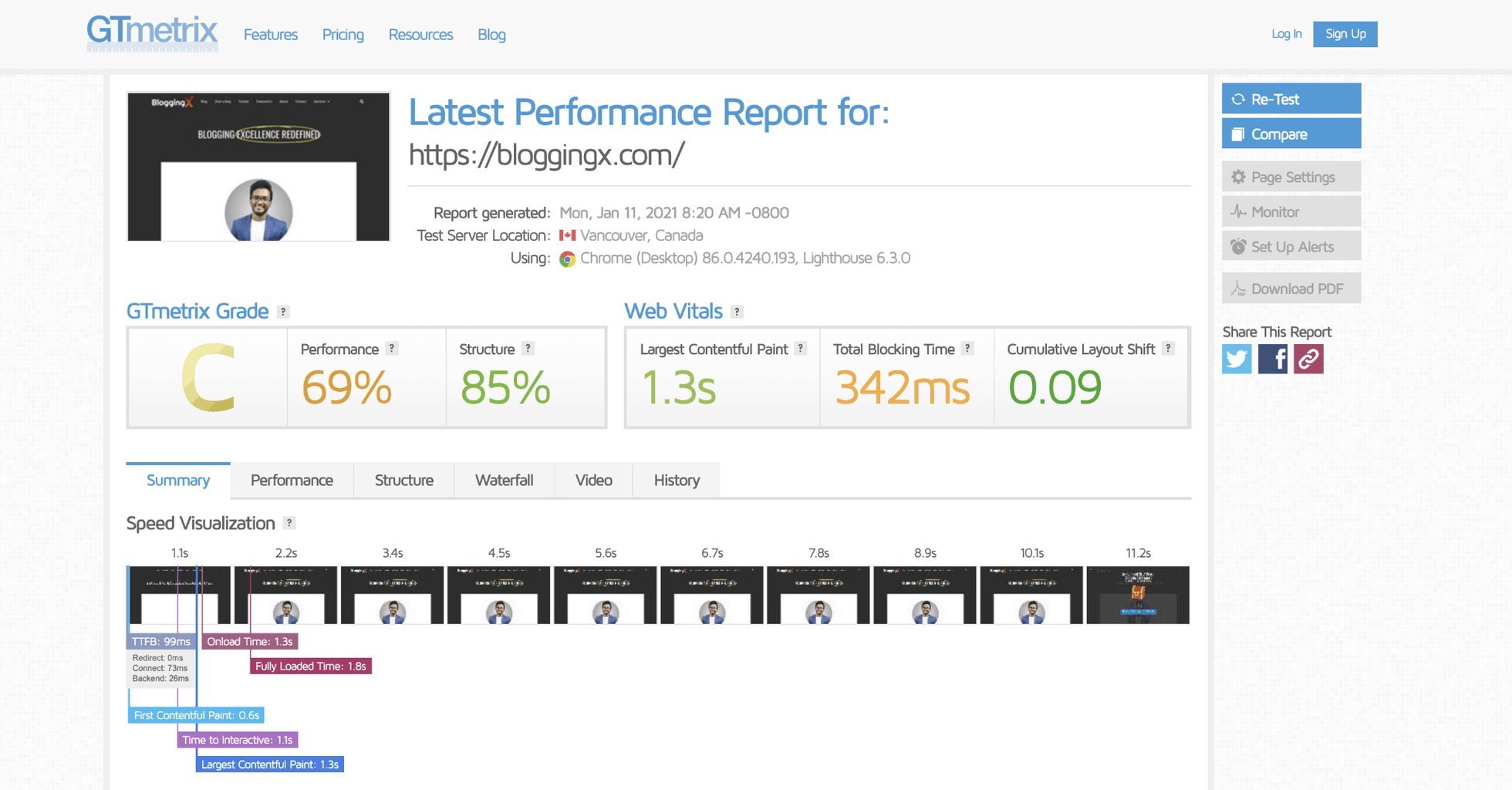 performance report of site hosted on