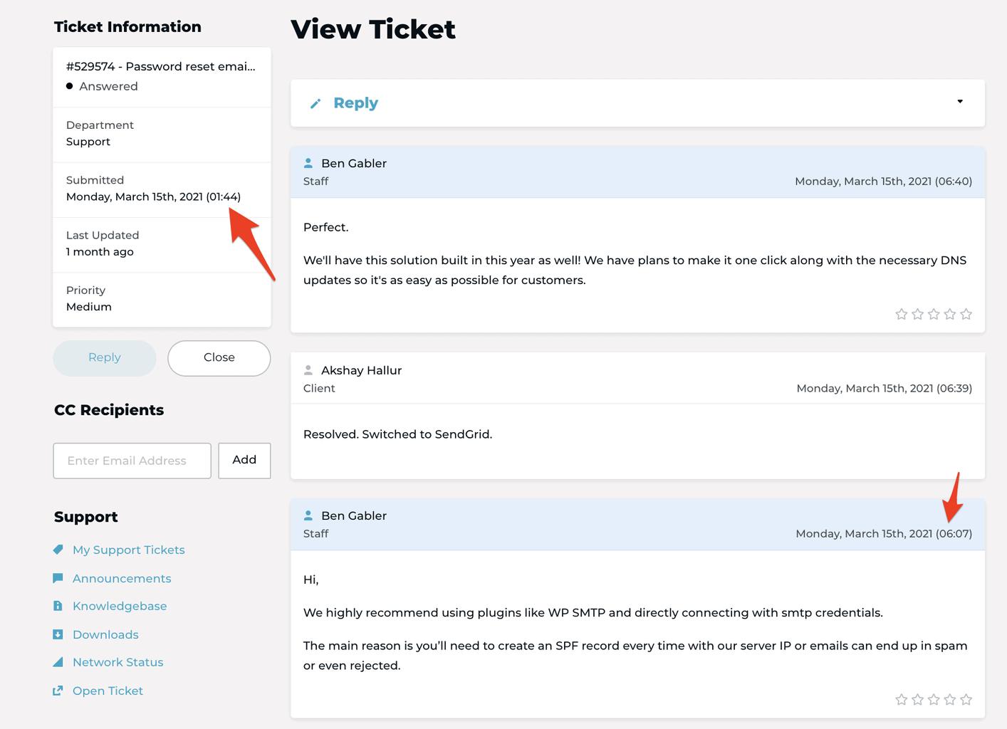 Rocket.net ticket support