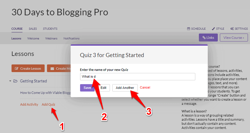 Adding quiz in Ruzuku