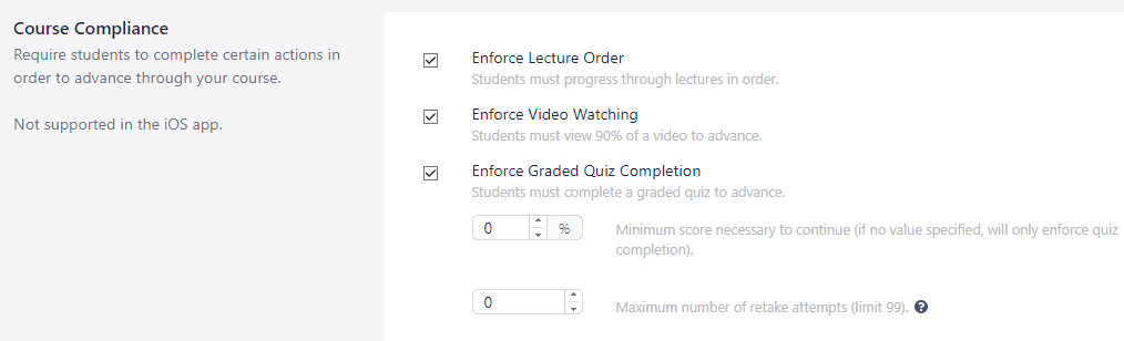 Course compliance feature