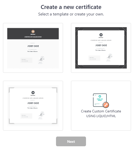 Teachable certificate templates