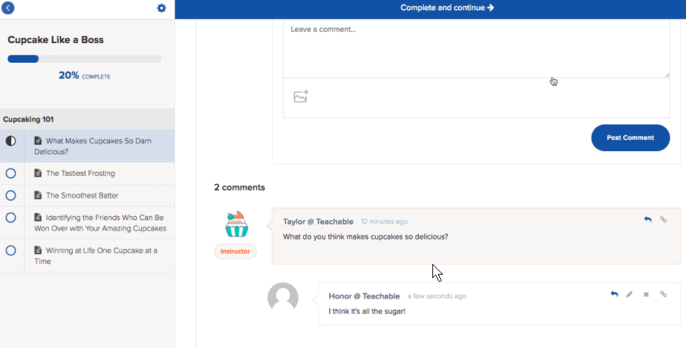 Teachable commenting feature in discussion forum