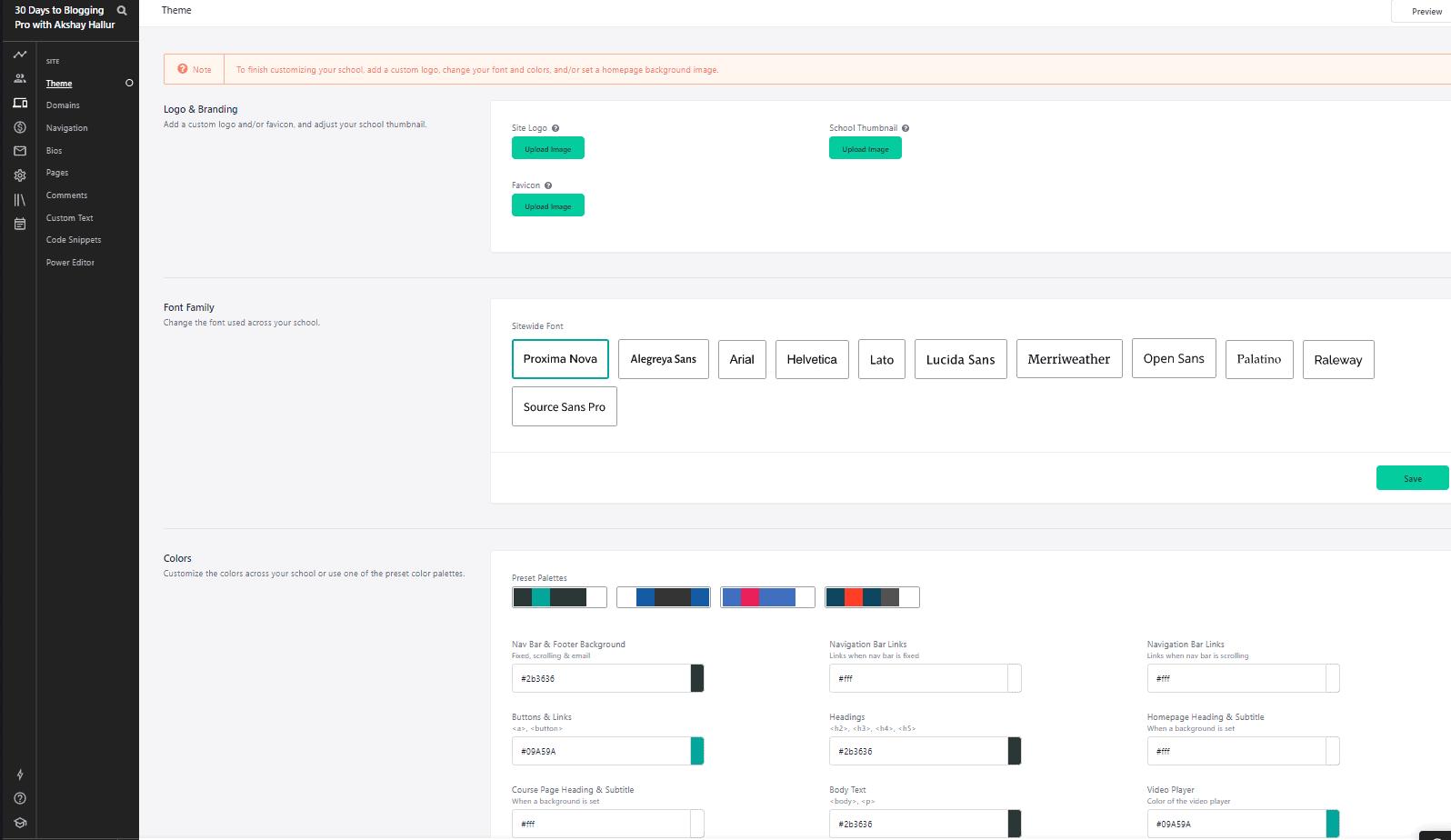 Teachable customization options