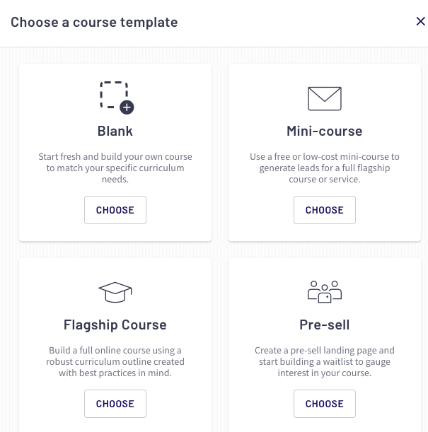 Choosing the course templates