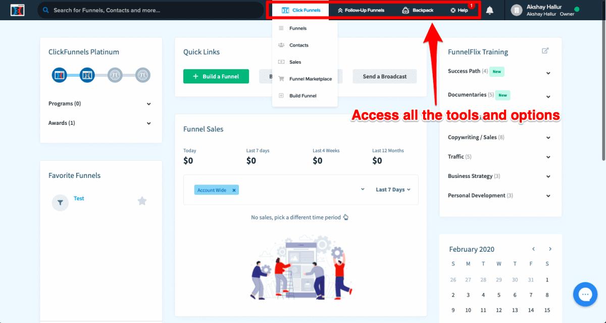 ClickFunnels interface