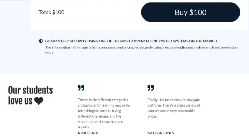 Customizing course sales page