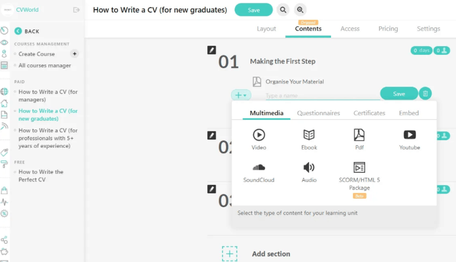 Downloadable files as attachments in LearnWorlds