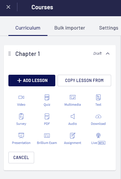 LearnWorlds adding lessons