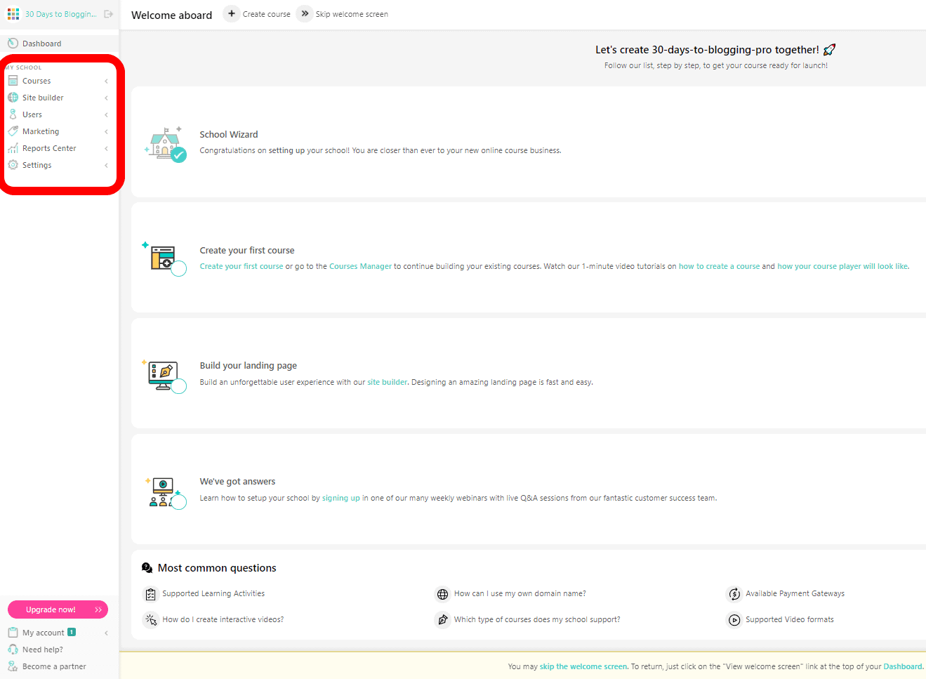 LearnWorlds course options