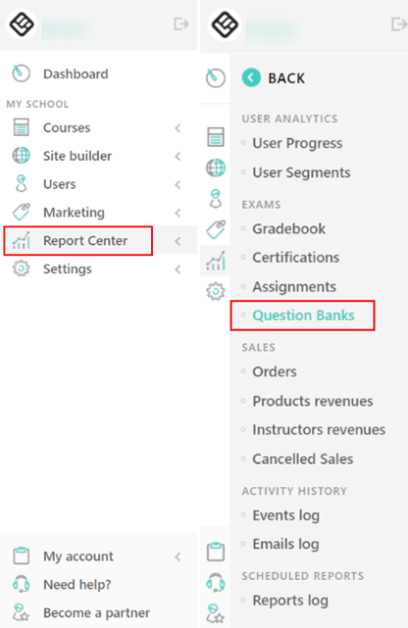 LearnWorlds question banks
