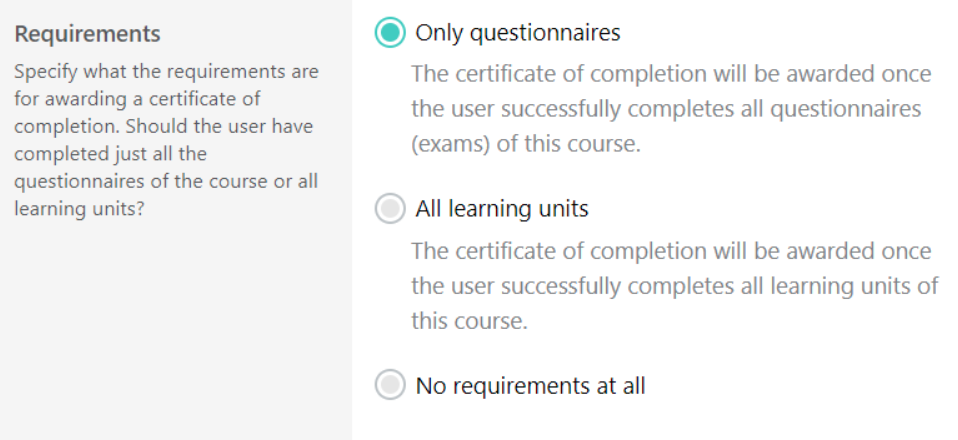 LearnWorlds questionnaires creation
