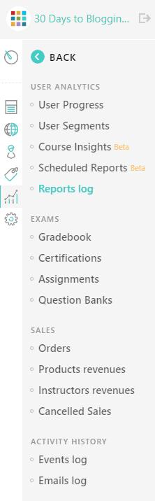 LearnWorlds report log