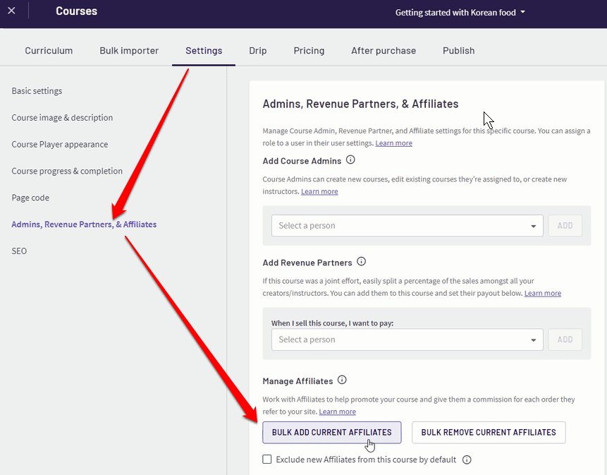 Managing the affiliate settings in Thinkific