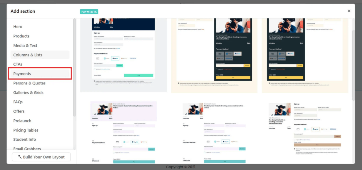Payments page in LearnWorlds