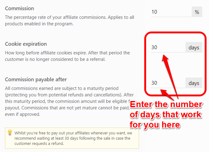 Setting up the affiliate cookie duration