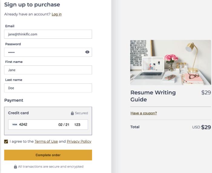 Single checkout page Thinkific