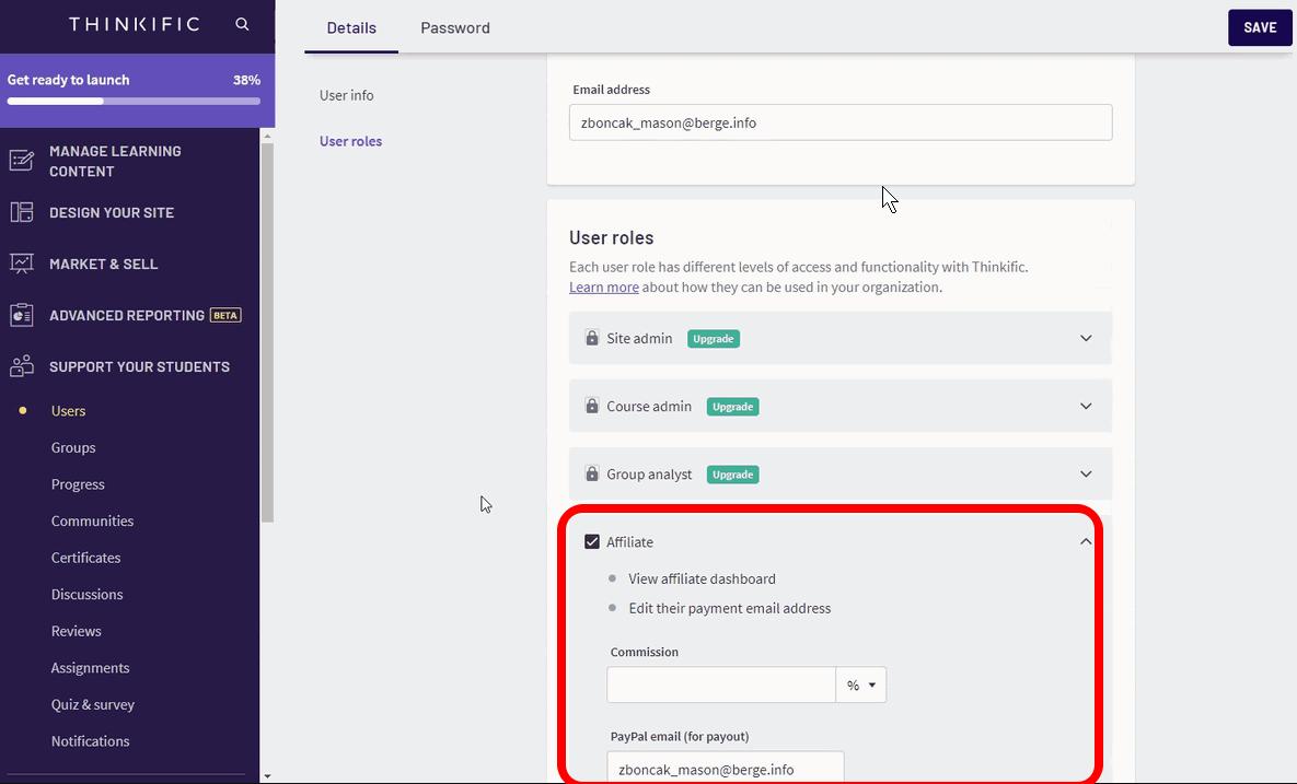 Thinkific affiliate setup