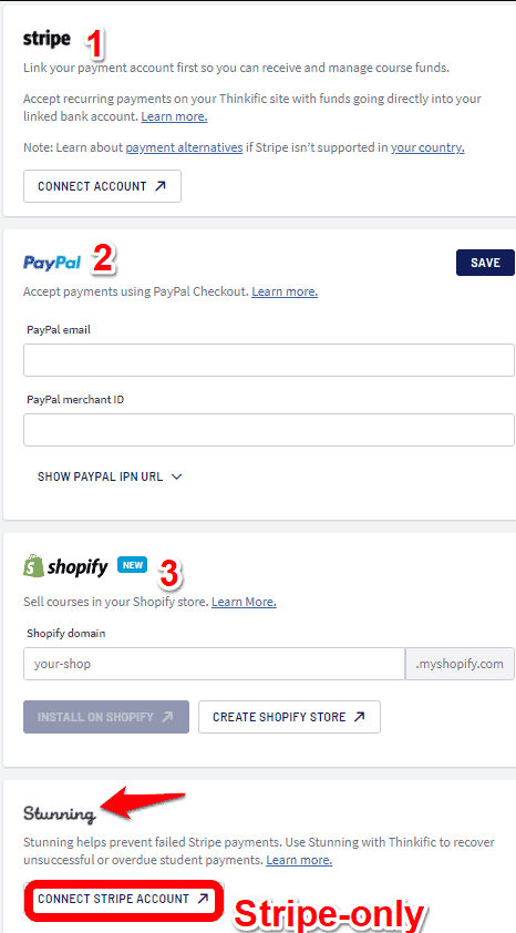 Thinkific payment methods