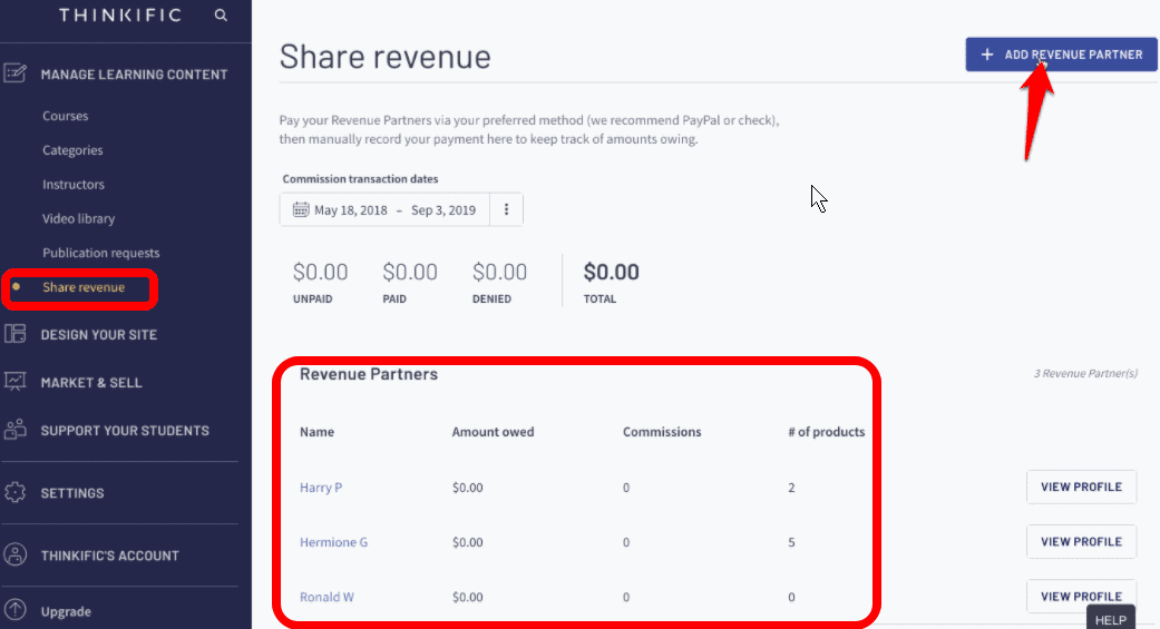 Thinkific share revenue