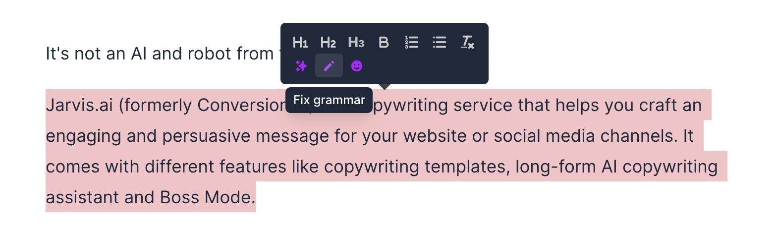 Fix Grammar feature - Jarvis
