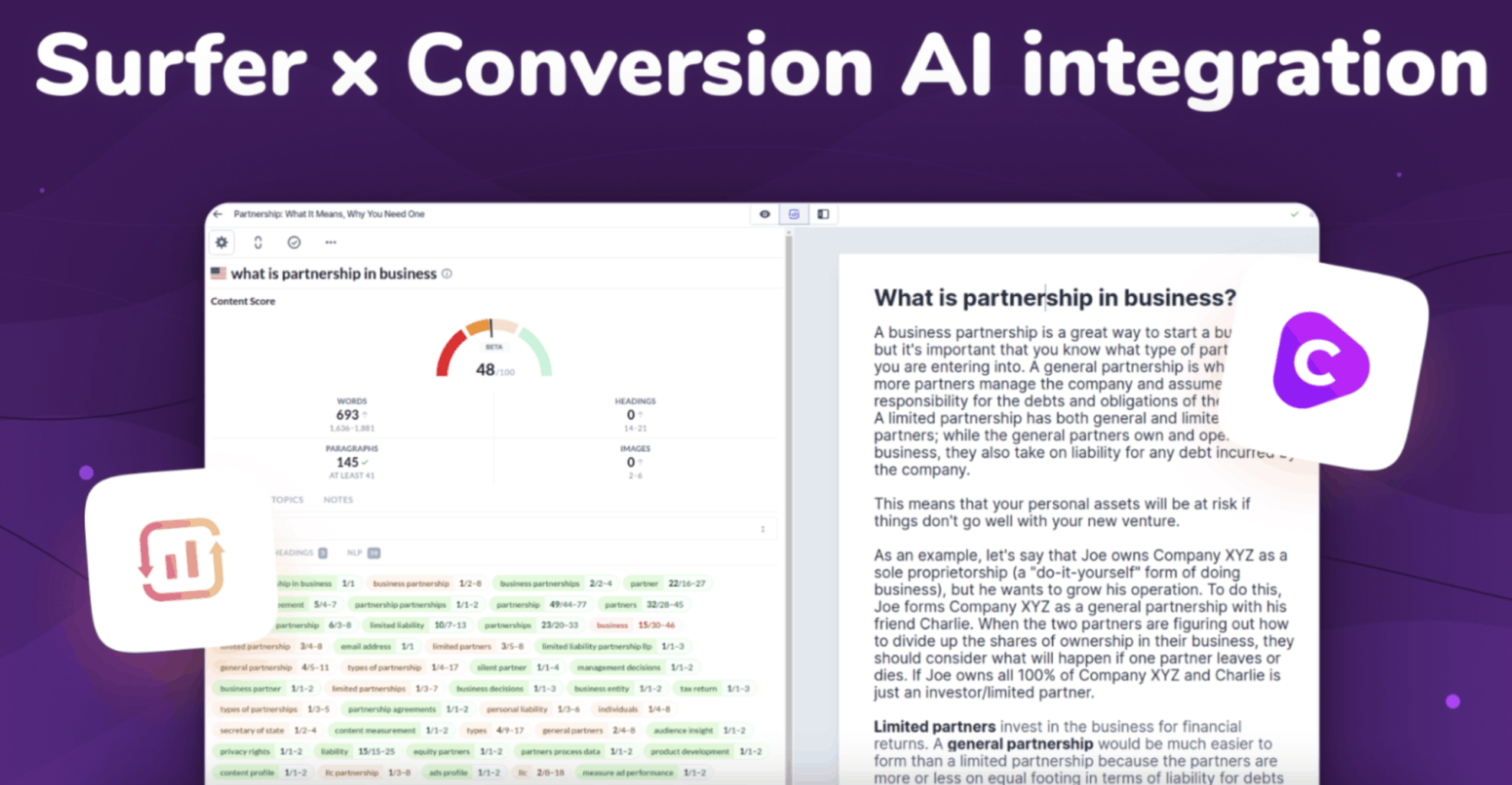 Surfer and Conversion.AI integration