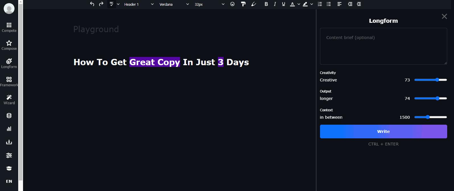 ClosersCopy long form editor